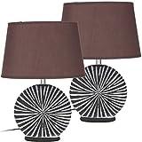 Brubaker - Juego de lámparas de mesa (2 unidades, pies de cerámica de dos colores, acabado en mate, 36 cm de altura), color marrón