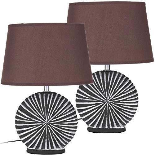 Set in due BRUBAKER Lampada da tavolo in ceramica marrone/bianco, paralume marrone - Altezza 36 cm