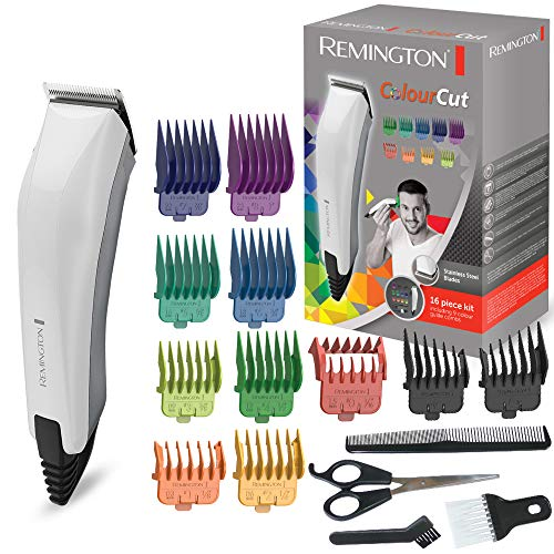 Remington HC5035 Colour Cut Tagliacapelli 11 pettinini, forbici, pettine e spazzola per il collo, con filo