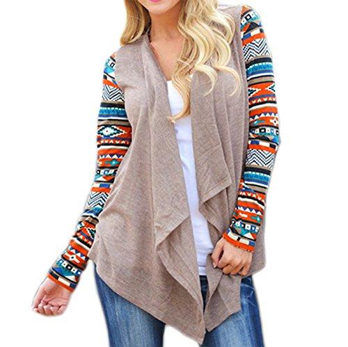 Fanmay Damen Strickjacke Mantel Langshirt Irregular Blusen Ethno-Style Frauen Cardigan Langarm Strickmantel Outwear Tops Outdoor Pullover (M, Khaki)