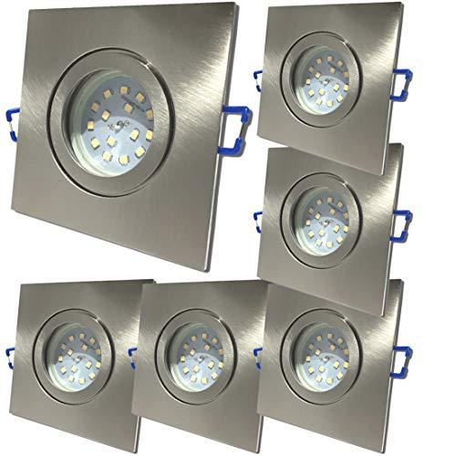 LED Bad Einbaustrahler 12V inkl. 6 x 5W SMD LM Farbe Eisen geb. IP44 LED Deckenleuchten Neptun Eckig 3000K Einbauspots