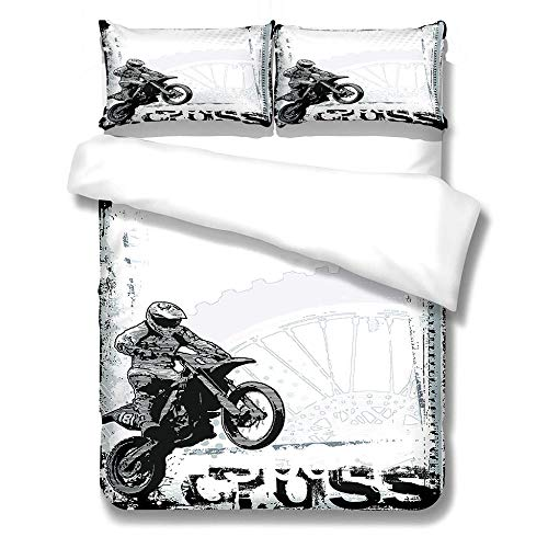 Duvet Cover and Pillowcases Bedding Set with 2 Pillowcases 3D Printed Bedding Set with Zipper Closure 1 Pieces Hypoallergenic Soft Microfiber Duvet Cover - Motorcyclists,King Size 230 x 220cm