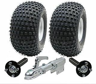 Parnells ATV trailer kit wielen + hub - stub + draaibare koppeling, 310kg, banden zijn 22x11.00-8 4ply P323 Wanda Knobbly ...