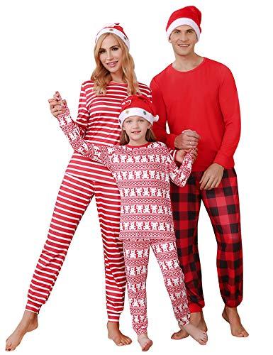 Irevial Familien Weihnachten Schlafanzug Fun-Nachtwäsche Familie Herren Damen Lang Pyjama Set Nachthemd Kinder Lang Weihnachten Nachtwäsche Hausanzug