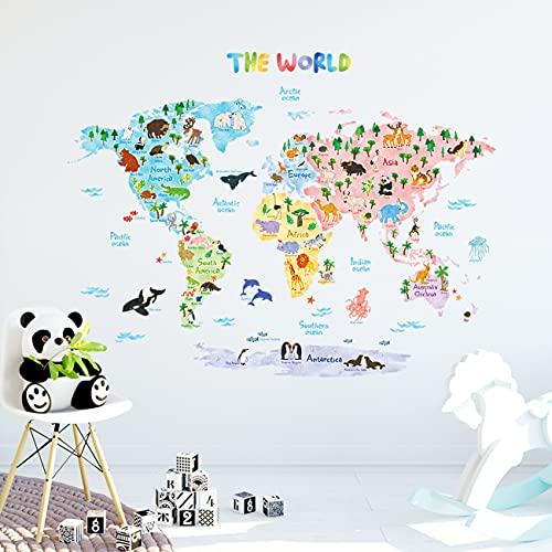 DECOWALL DLT-1615 Mapamundi Animales Vinilo Pegatinas Decorativas Adhesiva Pared Dormitorio Salón Guardería Habitación...