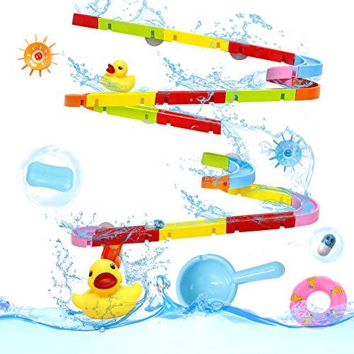 Baby Spielzeug Badewannenspielzeug Kugelbahn Kinderspielzeug Murmelbahn 55 Stücke mit Bälle & Saugnapf Wasserspielzeug Badespielzeug Bausteine Geschenk für Kinder Junge Mädchen ab 3 4 5 Jahren