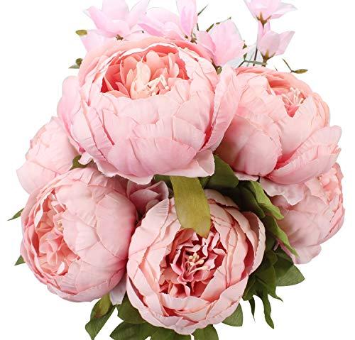 Msrlassn Flores Seda Peonía Artificiales para Boda Nupcial Partido Hogar Oficina de la Decoración de DIY (Spring Light Pink)