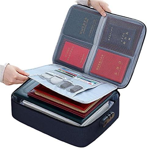 Organizador de archivos portátil bolsa pasaporte certificado titular de la caja de almacenamiento con cerradura portátil archivo organizador bolsa titular