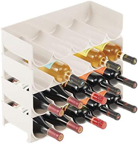 mDesign Juego de 4 estantes para vino – Práctico botellero apilable en plástico para hasta 5 botellas – Manejable mueble vinoteca para botellas de vino y otras bebidas – beige