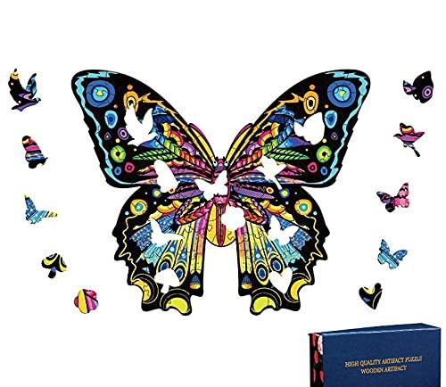 Rompecabezas de Madera | Rompecabezas de Animales de Madera de Mariposa de Forma única | Puzzle Animales para Adultos (Mariposa)