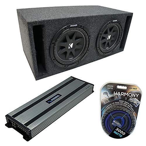 "Universal Car Stereo Slotted S Port Dual 15"" Kicker Bundle Comp C15 Sub Box Enclosure & Harmony HA-A1500.1 Amp"
