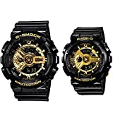 [Casio(カシオ)] 腕時計 G-ショック ベビーg GA-110GB-1A BA-110-1A ブラック&ゴールド 2本セット ペアウォッチ [並行輸入品]