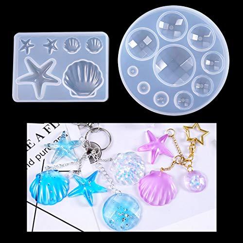 iSuperb 2 Piezas Moldes Silicona Moldes de Resina Epoxi Molde Gemas Estrellas de Mar Conchas Resin Molds para Manualidades DIY