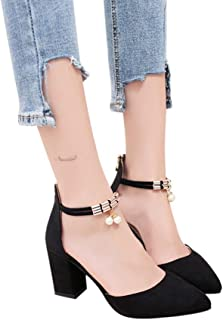 AIMTOPPY HOT Sale, Women's Fashion Rough With High Heeled Lace Zip Pointed Toe Rhinestone Sandals (US:7, Black)