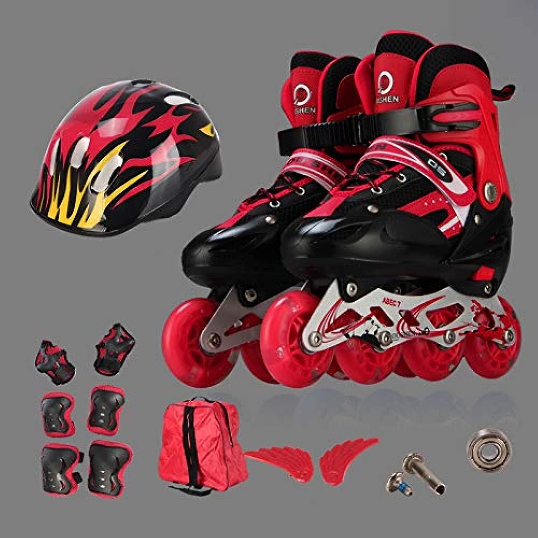 WTYD アウトドアスポーツ用品 Oushenアジャスタブルフルフラッシュ子供シングル四輪ローラースケートスケートシューズセット、サイズ:S(ブラック) アウトドアライフのために