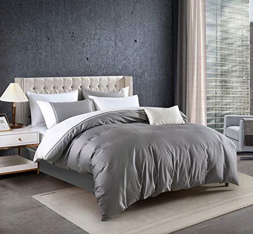 MengBoo Nocturne Gray with White Patchwork 3 Pcs Duvet Cover Set do not Include Filling 100% Cotton 300 TC Soft Sateen Hotel Collection Zipper Closure Corner Ties (Gray, King)