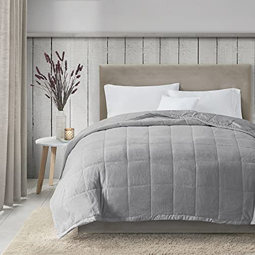 """Madison Park Coleman Cozy Reversible Blanket, Luxury Plush Season Down Alternative Cover for Bed, Couch and Sofa, Full/Queen(90""""x90""""), Grey"""