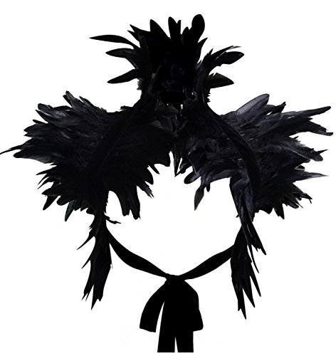 keland Victorian reale natürliche Feder Shrug Schal Schulterumhang Cape Gothic Kragen Halloween-Kostüm (Schwarz)