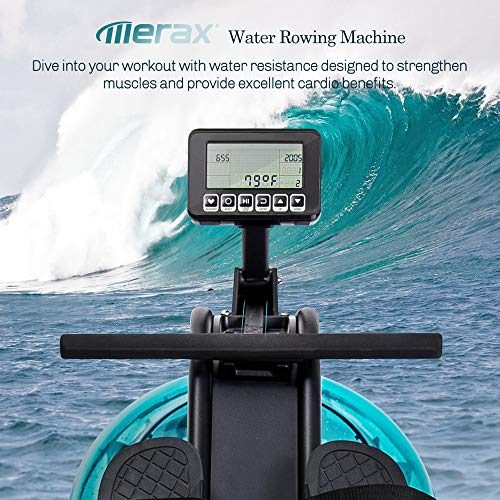 Merax Water Rowing Machine – Fitness Indoor Water Rower with LCD Monitor Home Gym Equipment