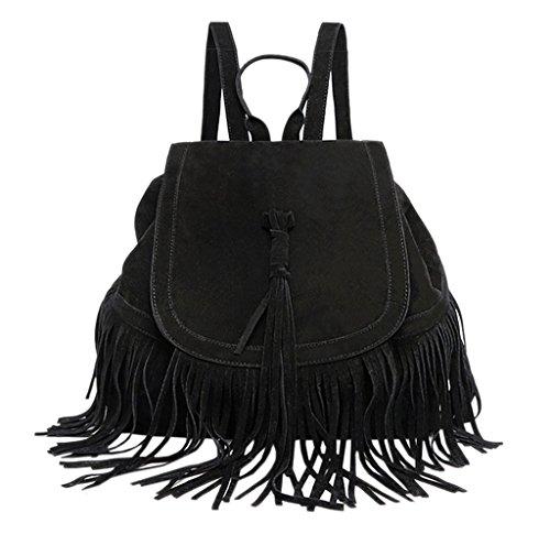 BACKSPORT Damen Mädchen Fransentasche Daypacks Rucksack Schultertasche Damentasche Shopper Fransen Quaste Retro (#B Schwarz)