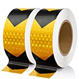Seven Sparta 2 Inch x 100 Feet Reflective Safety Tape Black & Yellow Arrow Caution Reflector Outdoor Conspicuity Tape for Vehicles, Trailers, Boats, Signs
