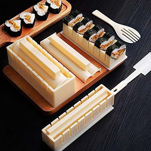 Sushi Making Kit Deluxe Version with Complete Fork Spatula Shaped Sushi Rice Roll Mold Sushi Making Tool Perfect DIY Home Sushi Tool 10 Piece Sushi Set