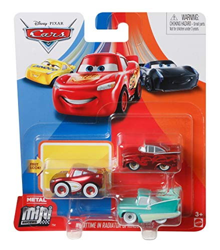 Disney Pixar Cars GKG62 Mini Racers 3er-Pack Nighttime in Radiator Springs - Cruisin LMQu, Flo, Ramone