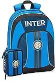 Panini spa Schoolpack Zaino Scuola Inter Organizzato 43x32x20 cm + Astuccio 3 Zip Completo