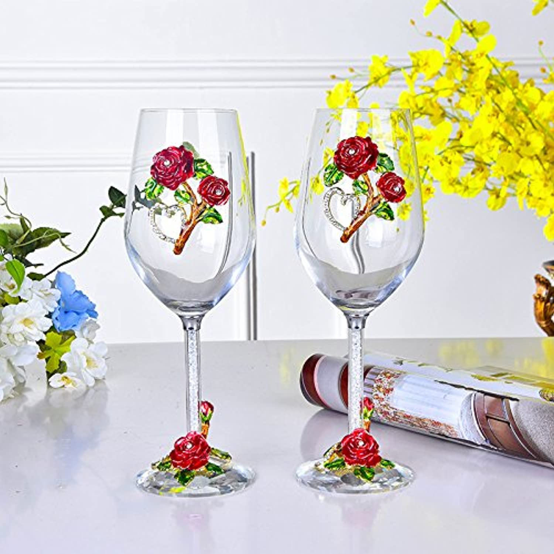 las mejores marcas venden barato JARONG Cáliz El Regalo De Bodas De De De Diamante De Cristal Sin Plomo De Vidrio De Vino Tinto  marca de lujo