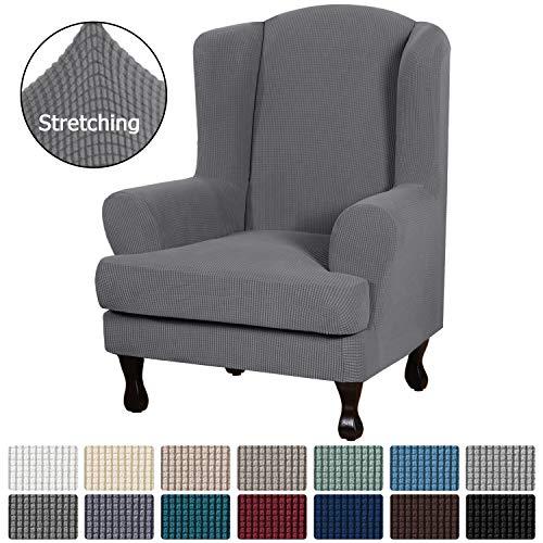 H.Versailtex耐用柔软高弹力提花2件龙腰椅盖木炭灰色沙发套装氨纶家具保护机可水洗氨纶沙发盖,翼椅套装