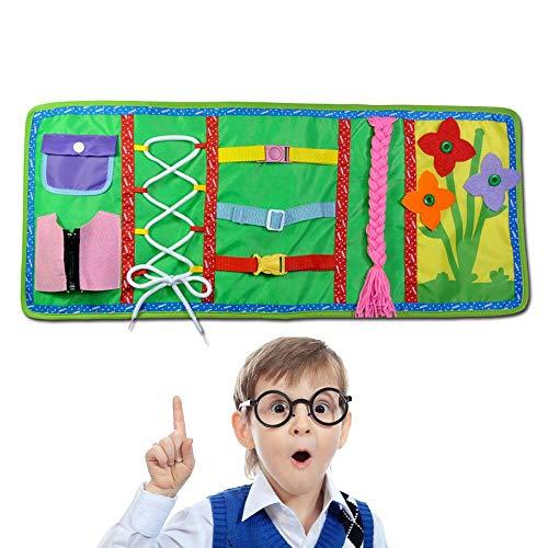 FOONEE Montessori Aprender tableros de vestir, aprendizaje temprano libro de habilidades básicas de vida, 6 en uno aprender a cerrar, botón, hebilla, encaje y corbata,para bebés niños de 2 a 7 años