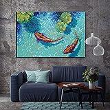 EBONP Quadro su Tela Animale Pittura Decorativa Koi Fish Lotus...