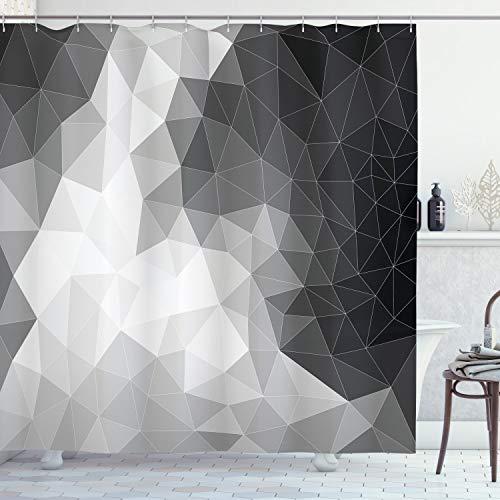 ABAKUHAUS Schwarz & Grau Duschvorhang, Polygon-Dreieck, mit 12 Ringe Set Wasserdicht Stielvoll Modern Farbfest & Schimmel Resistent, 175x180 cm, Hellgrau Schwarz