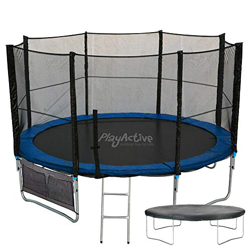 PlayActive Trampoline With FREE Safety Net Enclosure, Ladder, Rain Cover, Shoe Bag (8ft)