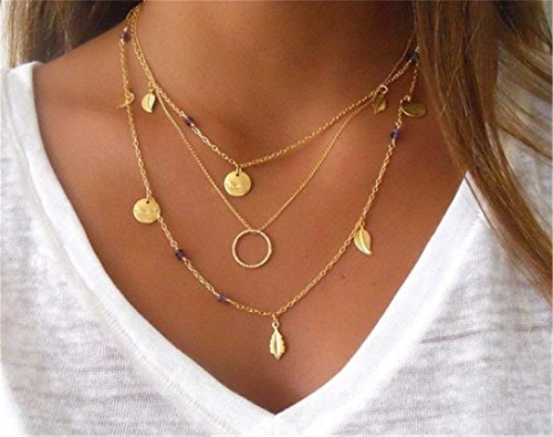 JAWSEU Women's Necklace Choker Multi-Row Chain for Women Girls Bohemian Pendant Leaves Pattern Fashion Jewellery Necklace Chains Gold