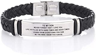 to My Son Stainless Steel and Braide Leather Bracelet Personalized Free Engraving Inspiration Bracelet