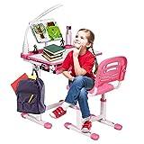 DREAMADE Kinderschreibtisch-Set Neigungsverstellbar Höhenverstellbar, Kindertisch...