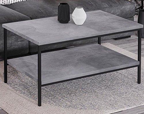 Endo Couchtisch Aspen Industrial Loft Tisch Metall 100x60cm Metallgestell // Beton-Optik