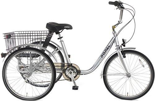 Popal Unisex Dreirad 24-24 Zoll Unisexfahrrad 6 Gang Kettenschaltung silber