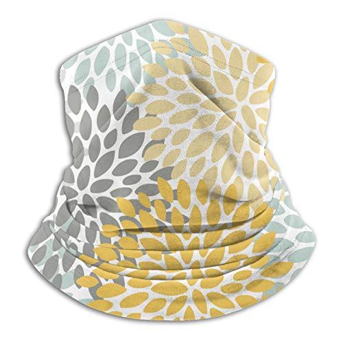 Towel&bag Patrón floral amarillo pálido azul y gris bufanda máscara para invierno clima frío