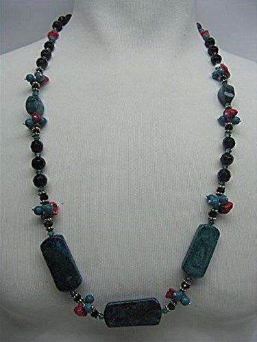 Natural mente – Howlite, turquoise, collier, env. 65 cm, pierre naturelle, collier, chaîne, Howlite, turquoise, n ° 1027