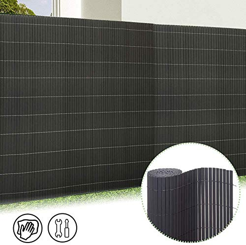 Froadp 180x1000cm PVC Sichtschutzmatte Windschutz Imitat Bambus Sichtschutzzaun Verkleidung für Außenbereich Garten Balkon Terrasse(Anthrazit)