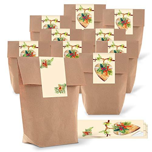 Logbokförlag 25 små julprydnader för påfyllning för barn anställda kollegor som presentförpackning till jul i brun röd grön HERZ
