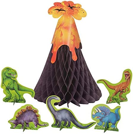 Unique Party 58309 - Dinosaur & Volcano Table Decoration, Set of 6