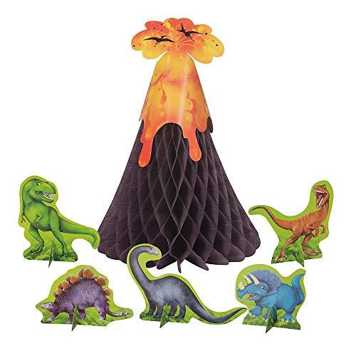 Unique Party 58309 - Décorations de Table des Dinosaures et Volcans - Fête à thème des Dinosaures - Set de 6 Pièces