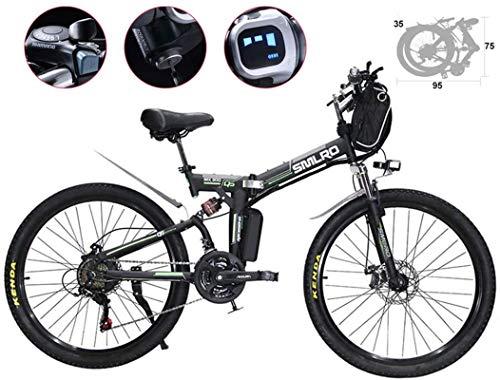 Neumático de 26 pulgadas Bicicleta eléctrica Ciclomotor plegable Bicicleta con llanta de radios 21 velocidades 48V 500W Bicicletas eléctricas de montaña Altavoz de scooter eléctrico de 3 modos Faros L