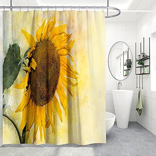Sonnenblume Duschvorhang mit 12 Haken, TANOSAN Gelbe Sonnenblumen Badevorhang, Helles Sonnenlicht Blumen-Motiv Bad Vorhang 3D Digitaldruck Shower Curtain 175 * 175 cm