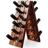 Deuba Botellero para 36 botellas de vino plegable vinoteca estantería rústico de Madera de Acacia Marrón 87x40x55cm