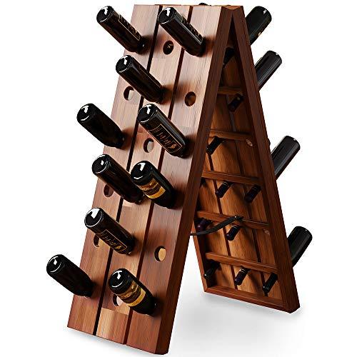 Deuba Weinregal Flaschenregal Holz Für 36 Flaschen Freistehend Klappbar Rüttelbrett Flaschenständer Weinständer Vintage