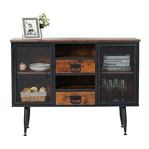 "FUQARHY 45"" Kitchen Sideboard Buffet Cabinet, Industrial Metal Mesh Double Door Wood Antique Stand Storage for Home Cupboard Dining Living Room Dark Walnut"